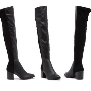 NWT black studded over the knee boot